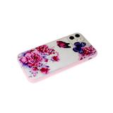 Чехол для Iphone 11 розовая окантовка, цветы с бабочками