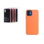 Силиконовый чехол Xiaomi Redmi Note 9 Silicon Cover без лого, закрытый низ, в блистере, оранжевый