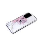 Чехол для Samsung Galaxy A52 силиконовый борт, жидкие блестки внутри, с рисунком,
