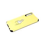 Силиконовый чехол Samsung Galaxy A51 тактильный рисунок, 3d camera, щелчек на желтом