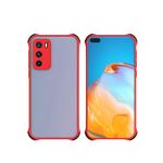 Чехол для Samsung Galaxy A02 2021 матово-прозр, защита камеры, цветные антишок углы, красная