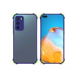 Чехол для Samsung Galaxy A02 2021 матово-прозр, защита камеры, цветные антишок углы, синяя