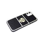 Чехол для Iphone 11 зеркальная окантовка, черный борт, герб РФ, крупная кожа