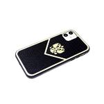 Чехол для Iphone 7 зеркальная окантовка, черный борт, герб РФ, мелкая кожа