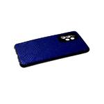 Силиконовый чехол Xiaomi Redmi Note 8T черный борт, поверхность из тактильной кожи, синий