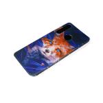 Силиконовый чехол Samsung Galaxy A11 цветной принт, прозрачный-силиконовый борт, лиса