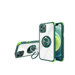 Чехол для Samsung Galaxy A12 прозр., сил. борт и антишок углы, двойное кольцо, темно-зеленая