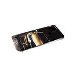 Чехол для Samsung Galaxy A10 красочный винил, прозрачно-силиконовый борт, золотая машина