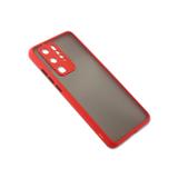 Чехол для Samsung Galaxy M32 матово-прозрачная, с защитой камеры, цветные кнопки, красная