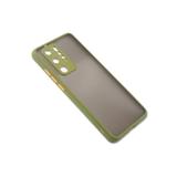 Чехол для Samsung Galaxy М32 матово-прозрачная, с защ. камеры, цветные кнопки, оливковая