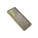Чехол для Samsung Galaxy А22 матово-прозрачная, с защитой камеры, цветные кнопки, оливковая
