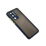 Чехол для Samsung Galaxy M32 матово-прозрачная, с защитой камеры, цветные кнопки, синяя