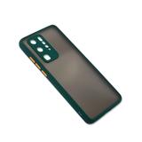 Чехол для Samsung Galaxy A22 2021 матово-прозрачная, с защ.камеры, цветные кнопки, темно-зеленая