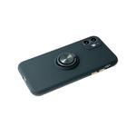 Силиконовый чехол Iphone 11 матовый, цветные кнопки, с магнитным держателем, черный