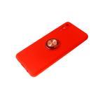 Силиконовый чехол Realme C11 матовый с кольцом, защита камеры, красный