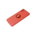 Силиконовый чехол Realme C3 матовый с кольцом, защита камеры, малиновый