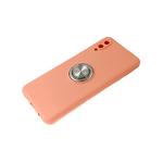 Силиконовый чехол Realme C3 матовый с кольцом, защита камеры, персиковый