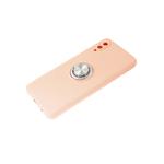 Силиконовый чехол Samsung Galaxy A51 матовый с кольцом, защита камеры, пудра