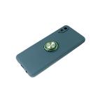 Силиконовый чехол Realme C3 матовый с кольцом, защита камеры, зеленый