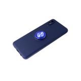 Силиконовый чехол Xiaomi Redmi 9a матовый с кольцом, защита камеры, синий