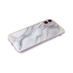 Чехол для Samsung Galaxy A10 мрамор с блестками, золотистая окантовка, бело-серая