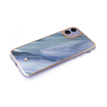 Чехол для Samsung Galaxy A10 мрамор с блестками, золотистая окантовка, голубо-зеленая