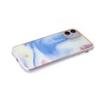 Чехол для Xiaomi Redmi Note 10 мрамор с блестками, золотистая окантовка, голубо-желтая