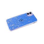 Силиконовый чехол Iphone 11 плотный, прозрачный, с блестками внутри, голубой