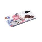 Силиконовый чехол Iphone 11 прозрачный борт, блестки поверх рисунка, девушка с рюкзаком