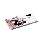 Силиконовый чехол Iphone 11 прозрачный борт, блестки поверх рисунка, девушка в шляпе