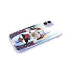 Чехол для Samsung Galaxy A12 прозр. борт, серия с картинками, девушка в больших очках с сумкой