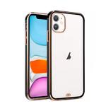 Силиконовый чехол Iphone 12 (6.1) с металическим ободком (технология 6D), синий