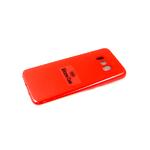 Силиконовый чехол Samsung Galaxy A50 Silicone case, с защитой камеры, бархат, без логотипа, красный