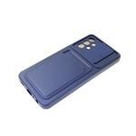 Силиконовый чехол Iphone 7/8 софт тач, свап-камера, отделение для карточки, синий