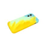 Силиконовый чехол Samsung Galaxy S21 Ultra soft touch, с акварельным рисунком, желто-бирюзовый