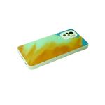 Чехол для Samsung Galaxy A12 стеклянная, размытые краски, защита камеры, бирюзово-оранжевая