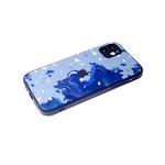 Чехол для Iphone 11 стеклянная, силиконовый борт, размытые цвета, синяя