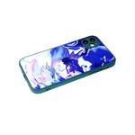 Чехол для Iphone 11 стеклянная, силиконовый борт, размытые цвета, зеленая