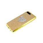 Силиконовый чехол Realme C3 текстильная вставка, сердце из страз, глянцевый борт, золотой