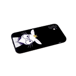 Силиконовый чехол Samsung Galaxy A02s матовый с глянцевым рис., защ.камеры, бархат, зайка в очках