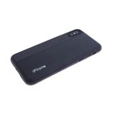 Силиконовый чехол Huawei P SMART 2019 кожа с текстилем и логотипом, черный