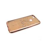 Силиконовый чехол Nokia 5 с блестящей наклейкой, окантовкой со стразами, розовое-золото