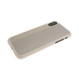 Силиконовый чехол Iphone XS Max 6.5 кожа с текстилем и логотипом, золотой
