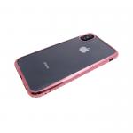Силиконовый чехол Xiaomi Redmi Note 4X прозрачный с розовой окантовкой из страз