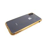 Силиконовый чехол Xiaomi Redmi Note 4X прозрачный с золотой окантовкой из страз