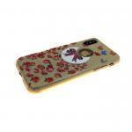 Силиконовый чехол Iphone X (10) Блестящий с цветами, бант и мелкие цветы золотые