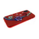 Силиконовый чехол Iphone 6/6S Блестящий с цветами, цветок с бабочками  красный
