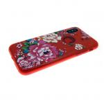 Силиконовый чехол Iphone 6/6S Блестящий с цветами, пионы красный