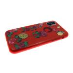 Силиконовый чехол Samsung J710 Galaxy J7 2016 Блестящий с цветами,розы  красный