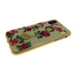 Силиконовый чехол Iphone 7/8 Блестящий с цветами,розы  золотой